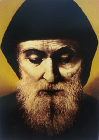 Picture of Św. Charbel - portret na desce, format A6