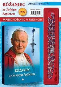 Picture of Różaniec ze Świętym Papieżem - Modlitewnik z różańcem w kolorze FIOLETOWYM w prezencie