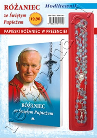 Picture of Modlitewnik z różańcem ze Świętym Papieżem w kolorze błękitnym