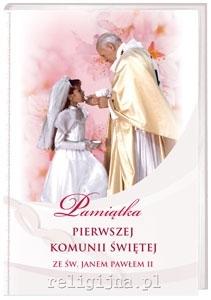 Pamiątka Pierwszej Komunii Świętej ze świętym Janem Pawłem II - dla dziewczynki