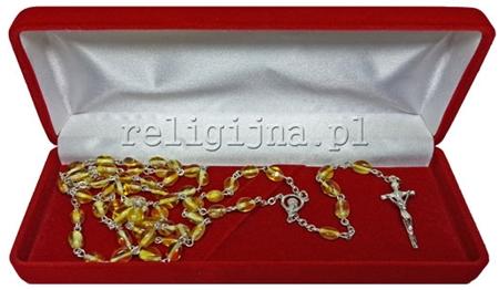 Picture of Różaniec z bursztynu jasnego ze srebrnym krzyżykiem papieskim