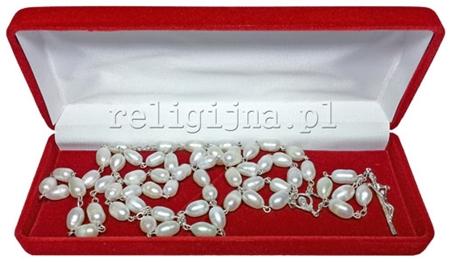 Picture of Różaniec z prawdziwych pereł ze srebrnym krzyżykiem papieskim