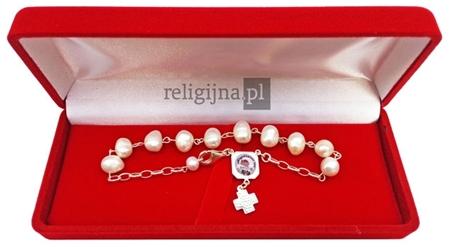 Bransoletka-różaniec z prawdziwych pereł - Święta Rita : Dewocjonalia