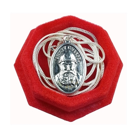 Medalik św. Charbel z łańcuszkiem - srebrny