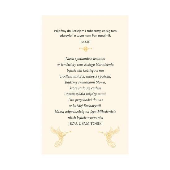 Anioł z księgą - Obrazek kolędowy - Rewers