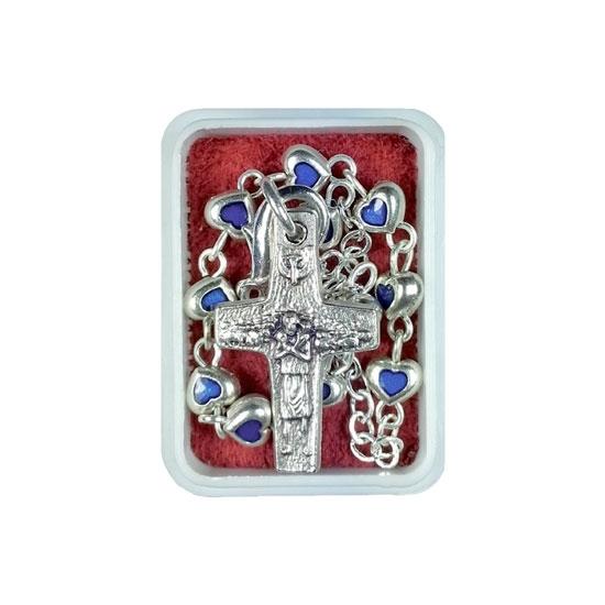 Bransoletka-różaniec młodych z krzyżykiem papieża Franciszka (serduszka niebieskie) : Dewocjonalia
