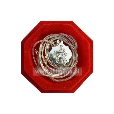 Medalik Matka Boża Szkaplerzna z łańcuszkiem - srebrny - w jublilerskim etui