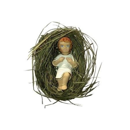 Dzieciątko Jezus na sianku. Figurka gipsowa