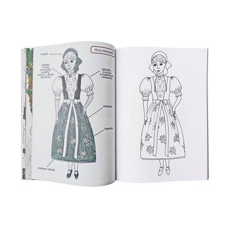Kolorowanki biało-czerwone, cz. I: Legendy, obrzędy i tradycje, stroje ludowe, wzory ludowe - zawartość