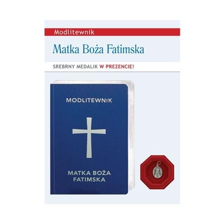 Modlitewnik Matka Boża Fatimska ze srebrnym medalikiem z wizerunkiem Pani Fatimskiej w jubilerskim opakowaniu