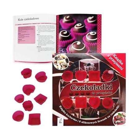 Czekoladki. 21 przepisów. Książka kucharska i 8 silikonowych foremek na czekoladki - zestaw