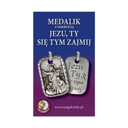 """Medalik Chrystusa Pocieszyciela z inskrypcją """"Jezu Ty się tym zajmij"""""""
