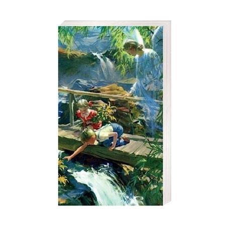Anioł Stróż z dziećmi ma mostku - Obrazek kolędowy - OB49