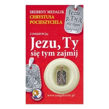 """Srebrny medalik Chrystusa Pocieszyciela z inskrypcją """"Jezu, Ty się tym zajmij"""""""