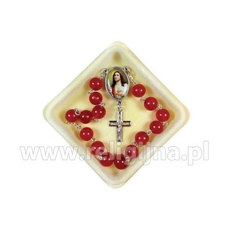 Koronka do Najświętszego Serca Pana Jezusa w pudełku z instrukcją odmawiania