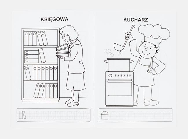 Kucharz i księgowa - Kolorowanka zawody