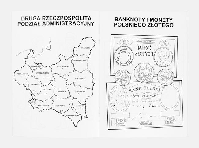II RP Podział Administracyjny i banknoty - Kolorowanka 100 lat Niepodległości