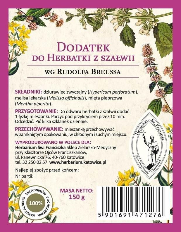 Dodatek do herbatki z szałwii wg Rudolfa Breussa - etykieta