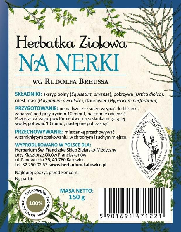 Herbatka ziołowa na nerki wg Rudolfa Breussa - etykieta