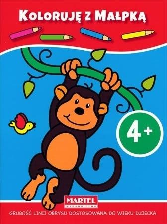 Koloruje +4 dinozaurem i małpką