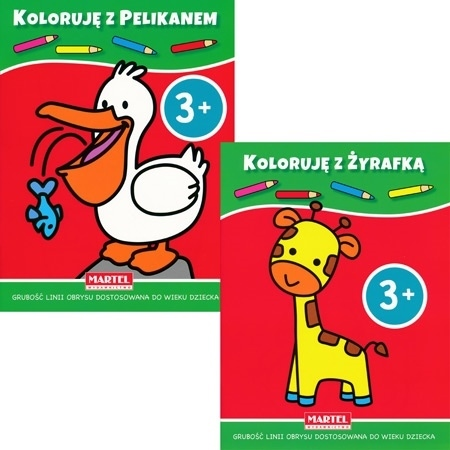 Koloruję 3+ z żyrafką i pelikanem