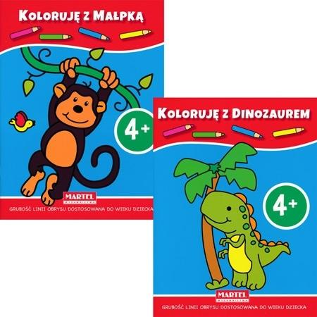 Koloruję 4+ z dinozaurem i małpką