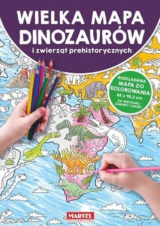 Wielka mapa dinozaurów i zwierząt prehistorycznych : Kolorowanki : Dla dzieci