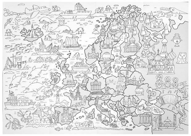 Wielka mapa Europy : Kolorowanki : Dla dzieci