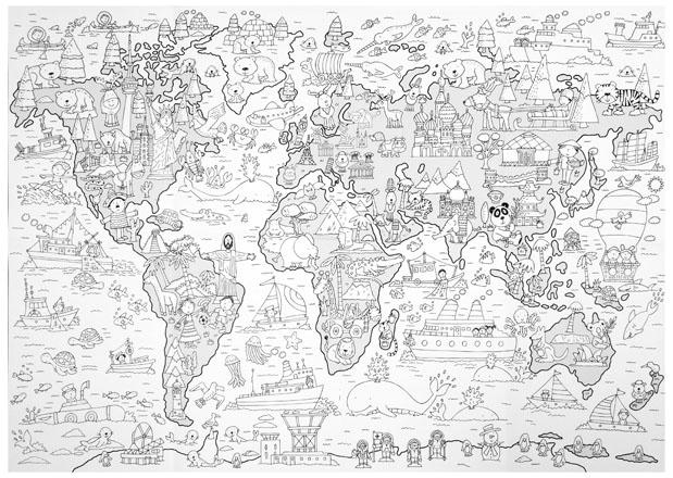 Wielka mapa świata : Kolorowanki : Dla dzieci