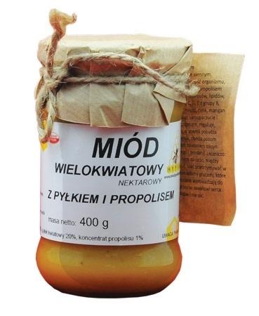 Miód wielokwiatowy z pyłkiem i propolisem, kremowany, 400 g