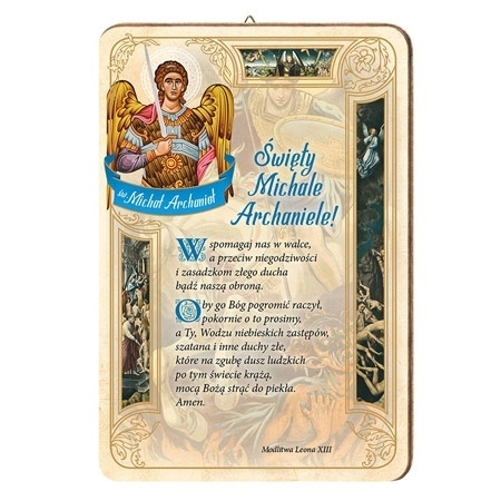 Modlitwa do św. Michała Archanioła. Obrazek na drewnie