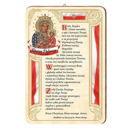Obrazek Matki Bożej Królowej Polski z modlitwą za Ojczyznę ks. Piotra Skargi. Obrazek na drewnie