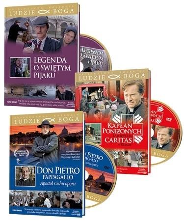 """Zestaw filmowy """"Ludzie Boga"""". Komplet 3 książeczek i 3 filmów DVD"""