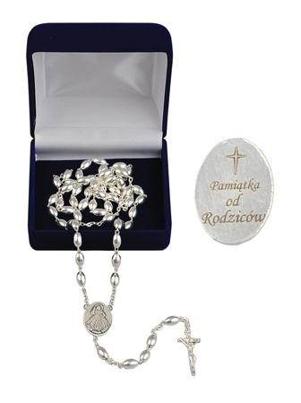 Różaniec srebrny z grawerunkiem: Pamiątka od Rodziców