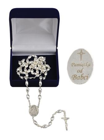 Różaniec srebrny z grawerunkiem: Pamiątka od Babci
