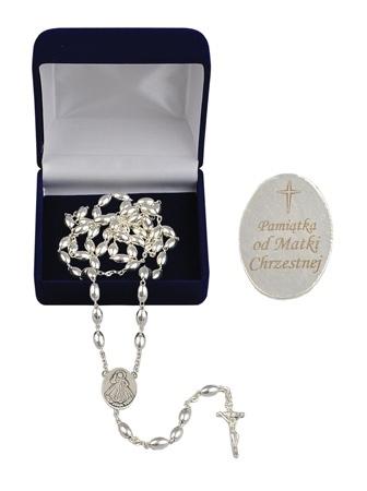 Różaniec srebrny z grawerunkiem: Pamiątka od Matki Chrzestnej