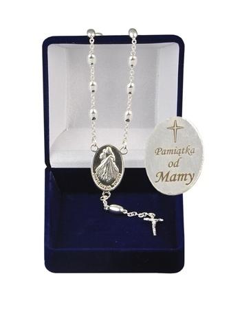 Dziesiątka różańca ze srebra z grawerunkiem: Pamiątka od Mamy
