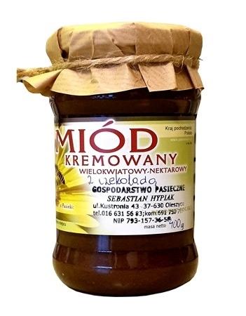 Miód kremowany wielokwiatowy nektarowy z czekoladą. 400 g