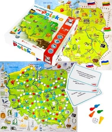 Polska. Edukacyjna gra planszowa dla 2-5 graczy w wieku powyżej 5 lat