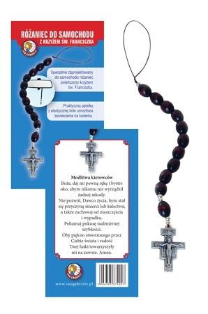 Różaniec do samochodu z krzyżem św. Franciszka i modlitwą kierowcy : Dewocjonalia
