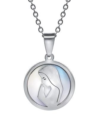 """Medalion """"Maryja na modlitwie"""" z łańcuszkiem : Dewocjonalia"""