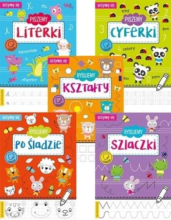Rysujemy szlaczki, po śladzie, kształty, cyferki, literki. Komplet 5 książek z naklejkami : Dla dzieci