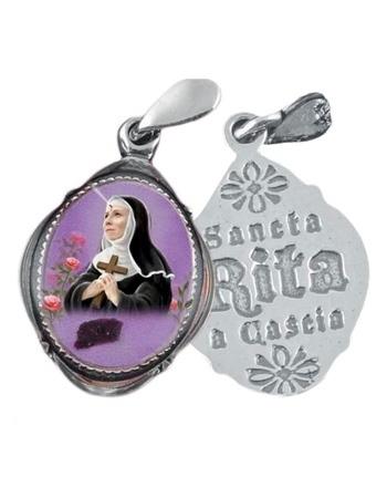 Srebrny medalik św. Rity z pobłogosławioną różą : Dewocjonalia