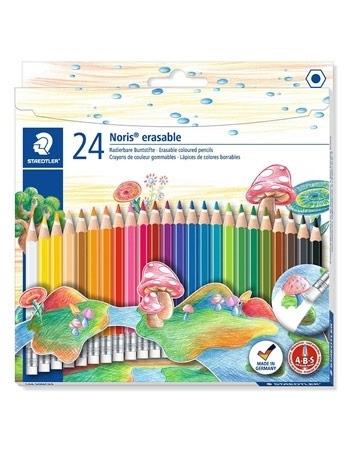 Kredki usuwalne z gumką Noris Club.  24 kolory