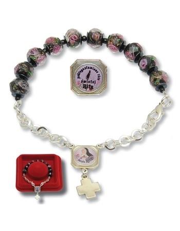Bransoletka-różaniec św. Rity ze szkła weneckiego : Dewocjonalia