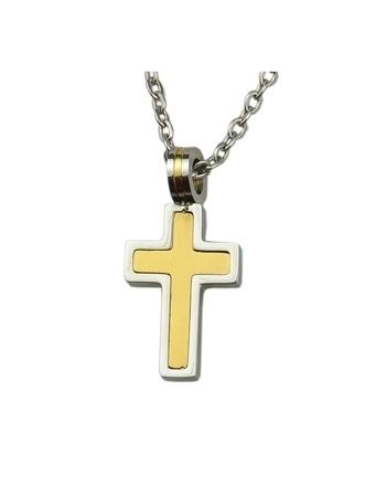 Krzyż w kolorach złota i srebra : Dewocjonalia