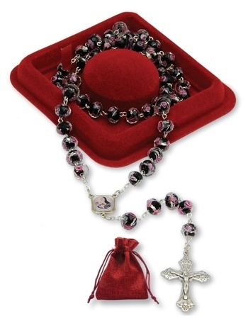 Różaniec św. Rity ze szkła weneckiego : Dewocjonalia