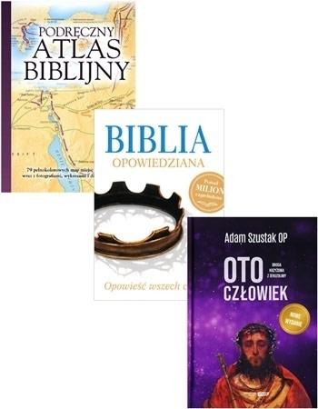 Pakiet biblijny:  Biblia opowiedziana, Oto Człowiek. Droga krzyżowa z Jerozolimy oraz Podręczny atlas biblijny
