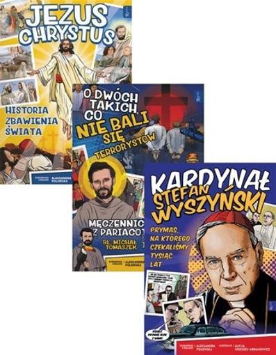 Komiksy dla dzieci: o Panu Jezusie, o Prymasie Wyszyńskim oraz o męczeństwie polskich misjonarzy w Peru : Zestaw 3 książek