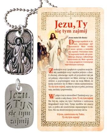 """Picture of Medalik + drewniany obrazek """"Jezu, ty się tym zajmij"""""""